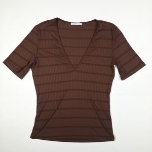 Zara Brown Ribbed V-Neck Short Sleeve